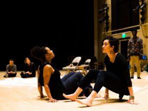 On stage floor