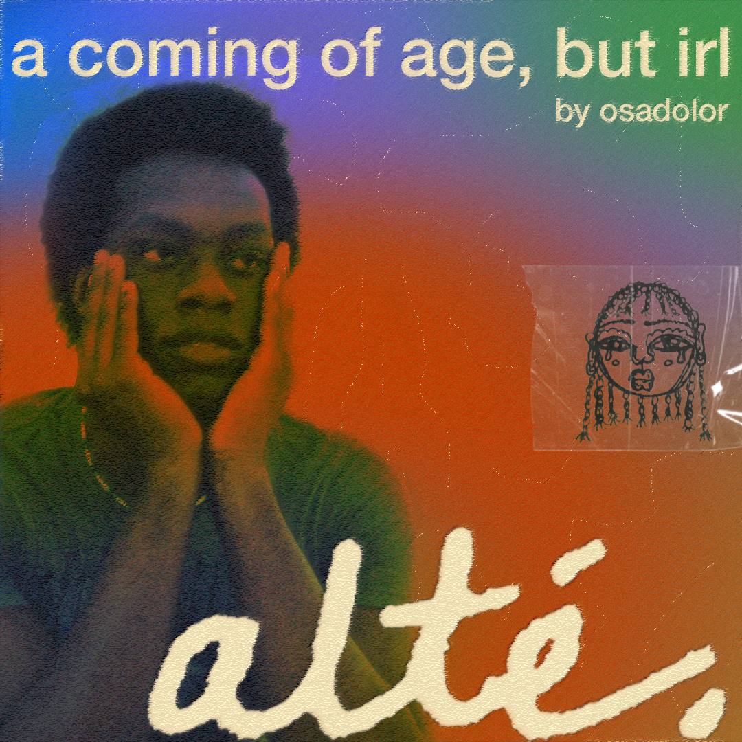 The tentative cover art to the 'a coming of age, but irl: alté' podcast series with the official gradient and font